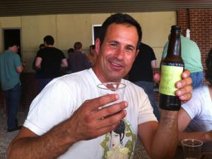 Sam from Dogfish Head tries my home brewed Honey Hop Amber Ale.